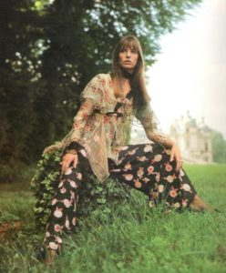Jane Birkin for Ossie Clark and Celia Birtwell, early 1970's