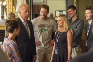 "PARKS AND RECREATION -- ""Washington D.C."" Pictured: (l-r) Vice President Joe Biden, Chris Pratt as Andy, Amy Poehler as Leslie Knope, Adam Scott as Ben Wyatt -- (Photo by: David Giesbrecht/NBC)"