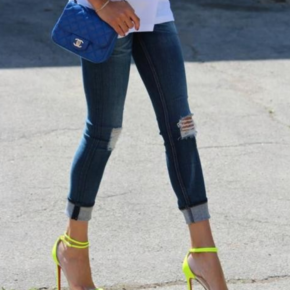 Neon stilettos are the perfect compliment for a casual outfit.
