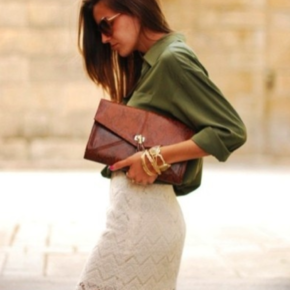 A cotton-lace skirt pairs well with a silk shirt.