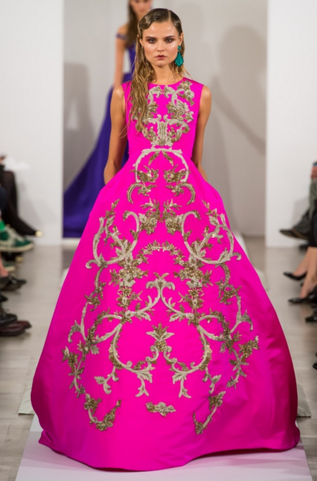 An haute couture variation of typical brocade by Oscar de la Renta.