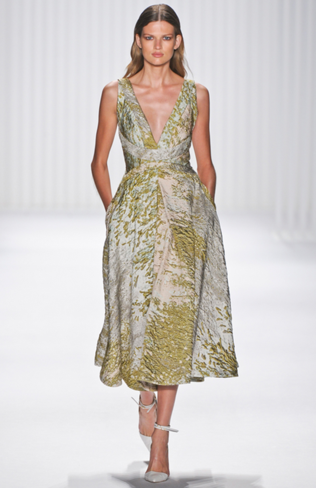 Read-to-wear brocade dress by J Mendel.