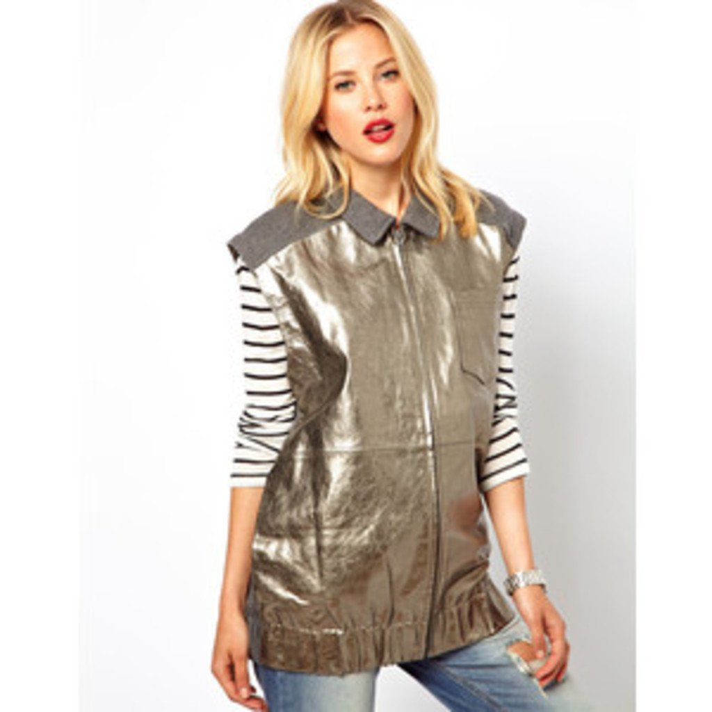 ASOS Sleeveless Bomber Jacket in Metallic Leather and Sweat ($118) Photo Courtesy of Asos.com