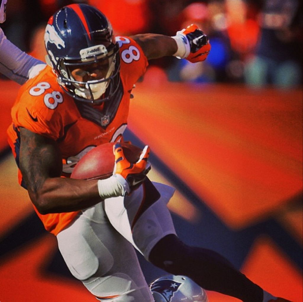 Demaryius Thomas' in action courtesy of the Denver Broncos Instagram
