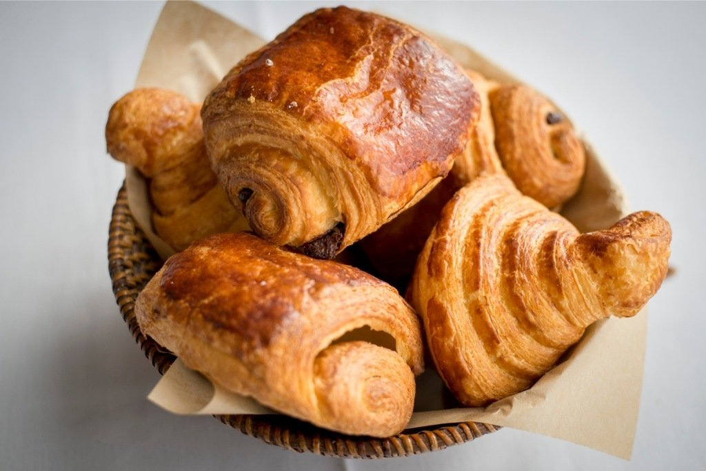 Croissants and Pain au Chocolat at Pierre Michel French Cafe. Photograph by Caitlin Savage.
