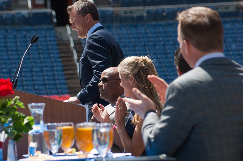peyton manning, john lynch, linda lynch, mayor hancock, salute the stars luncheon, colorado high school, sports authority field