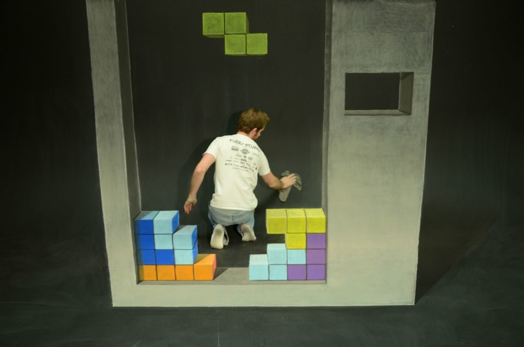 Tetris 3-D Chalk Art, photo courtesy of Chris Carlson