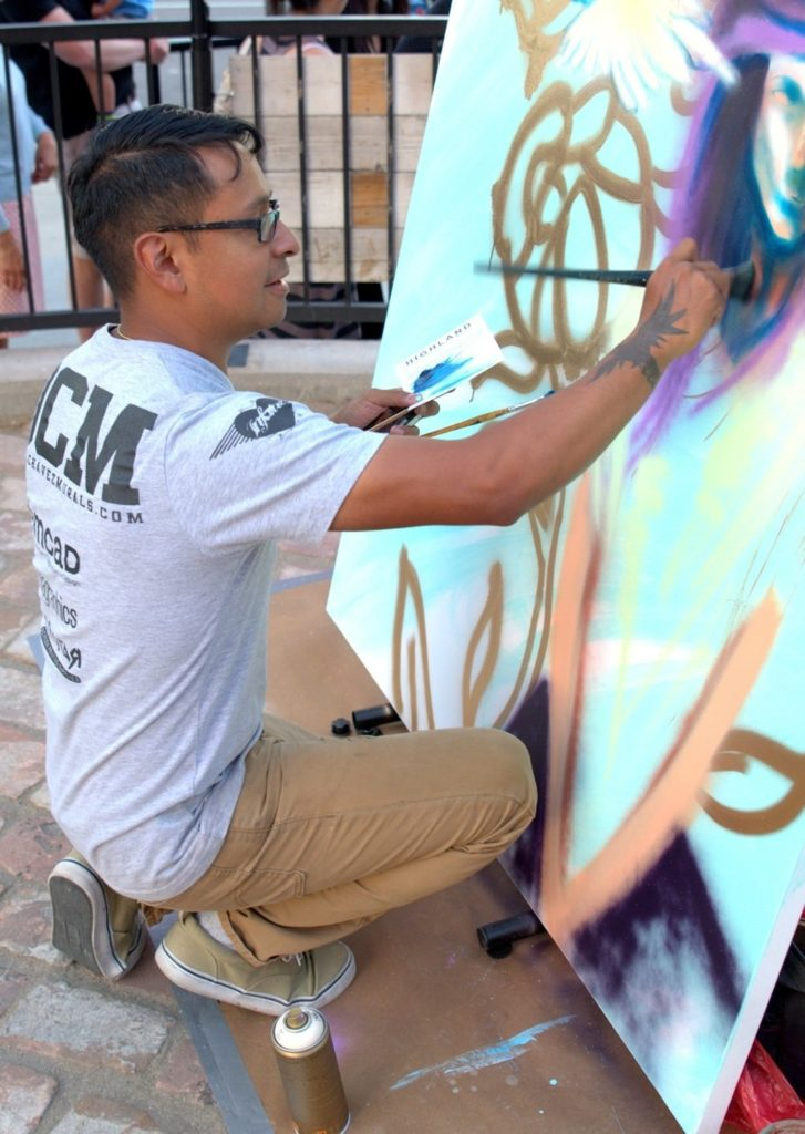 Daniel Chavez live painting at Highland First Friday/Paseo del Artes.