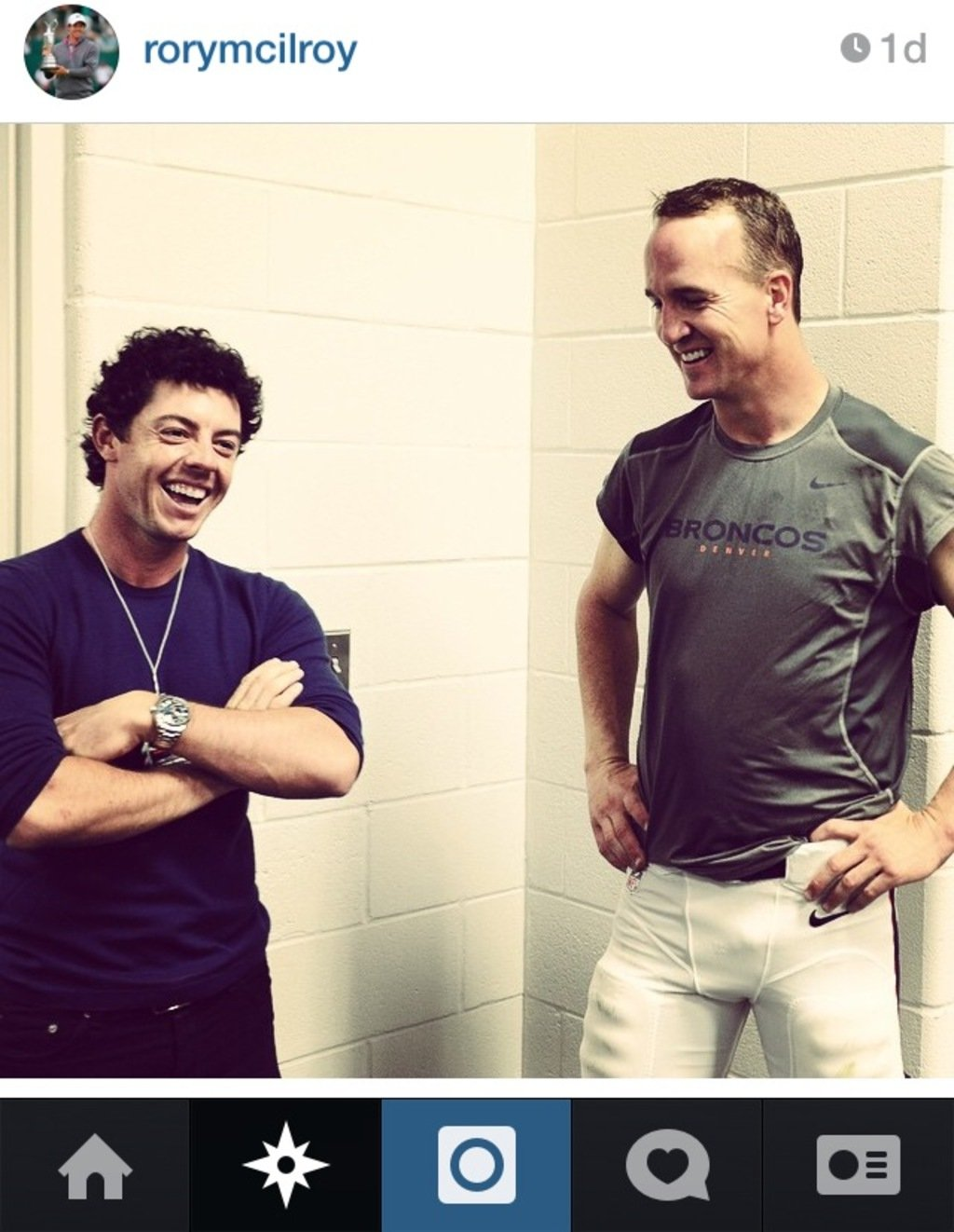 Rory McIlroy Instagrammed a photo with Peyton Manning after the tournament ended Sunday. @rorymcilroy