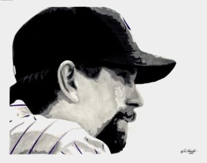"""Todd Helton"" - portrait - pencil illustration drawn live on TV for ROOT Sports - Scorecard Art"