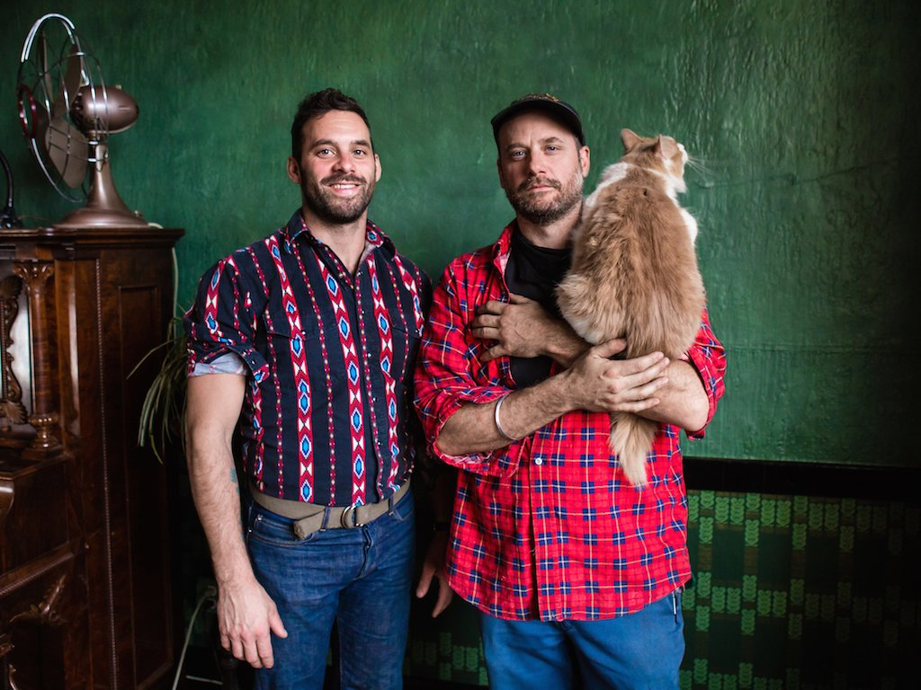 The Scott Brothers; Bretton (left), Aaron (right) and Sparkles, (the cat). Photo by Camille Breslin.