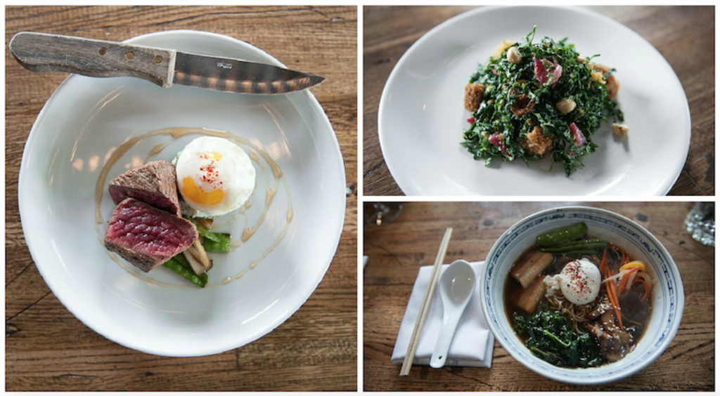 The steak and eggs  (left), the kale and strawberry salad (top) and the Brazen ramen (bottom).