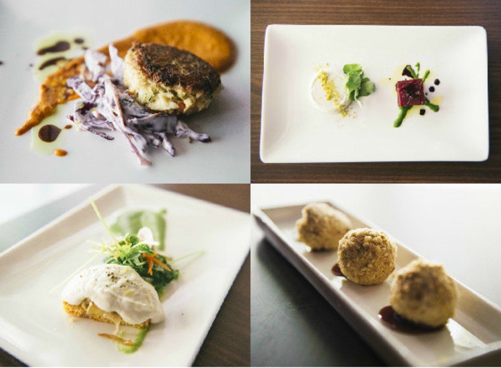 Starting from top left, clockwise: the crab cakes, the chèvre panna cotta, house ricotta and the foie gras bon bond.