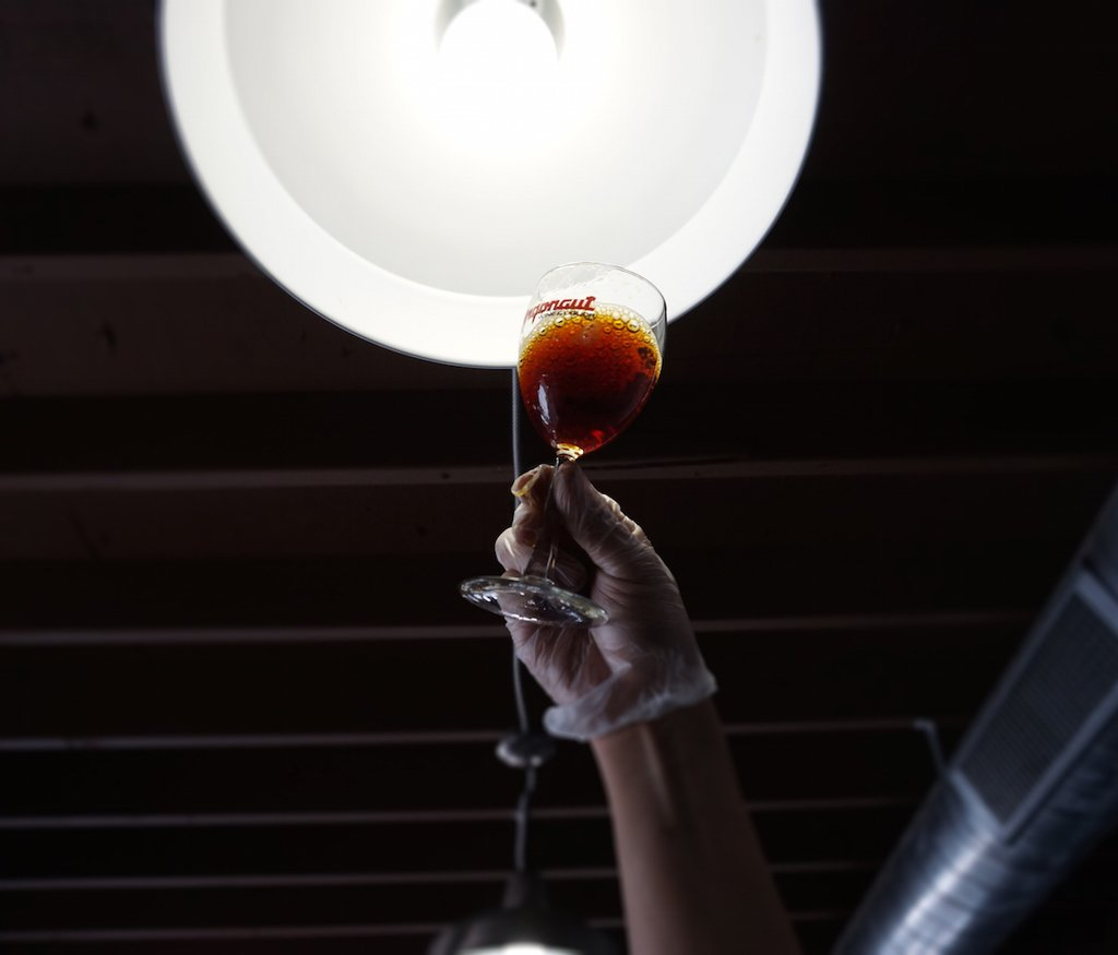Corvus employee holding the barrel aged coffee to the light to show its clarity after filtration.