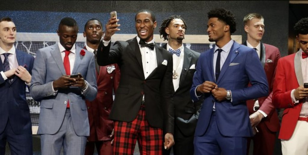 NBA prospects at the NBA draft in New York City (Courtesy of The New York Times).