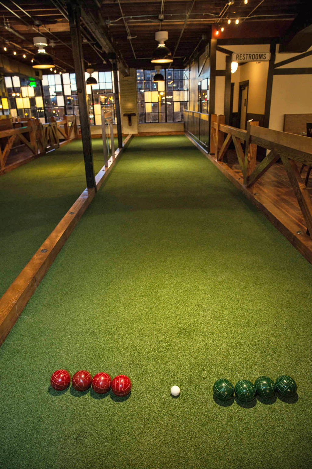 One of the four indoor bocce courts. All photography by Gabe Rovick of 4FD Studio