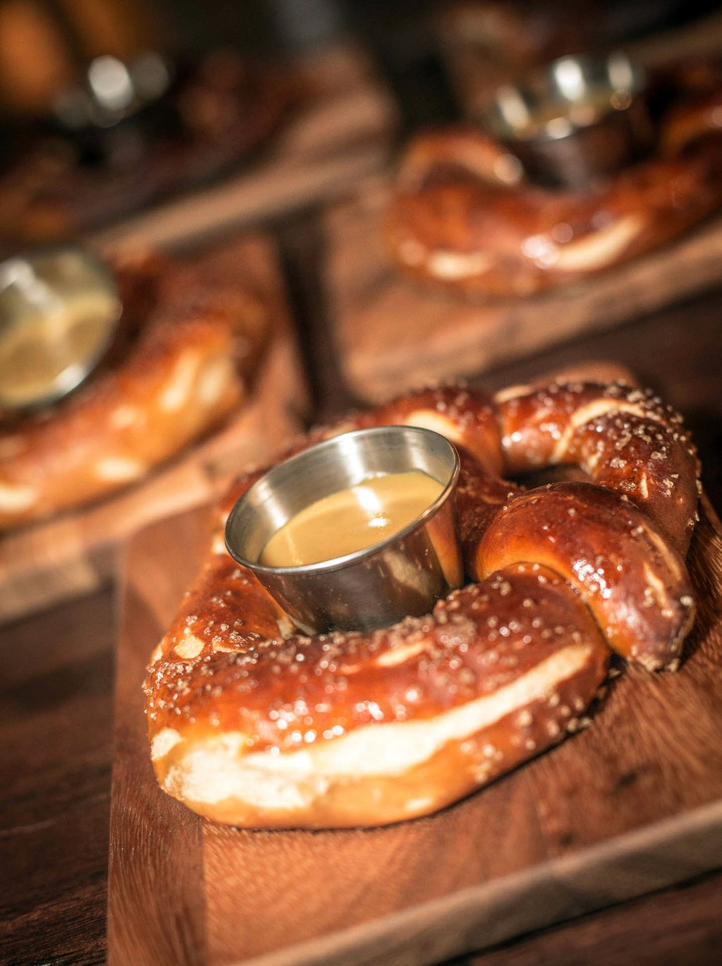 In-house made pretzels with cheese fondue.