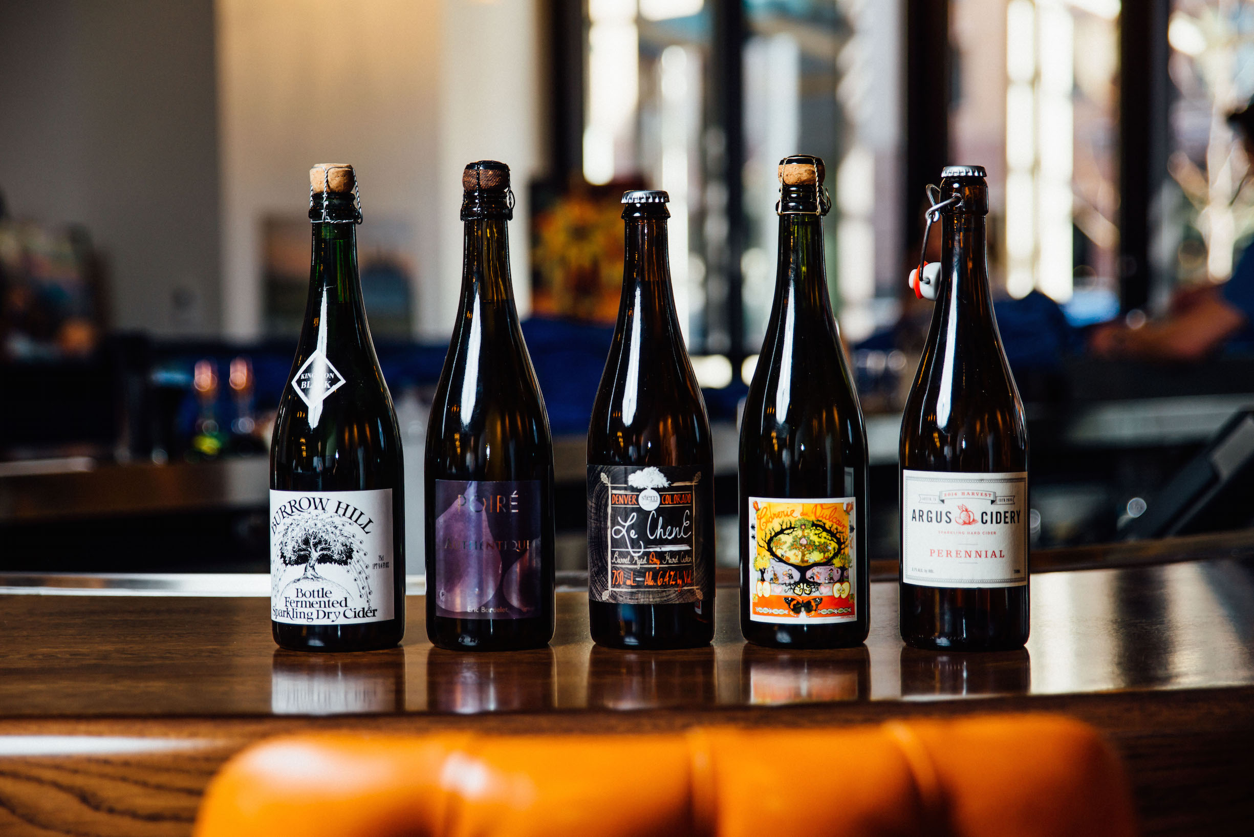 Some of the ciders available at Arcana. Photo by Noah Berg.