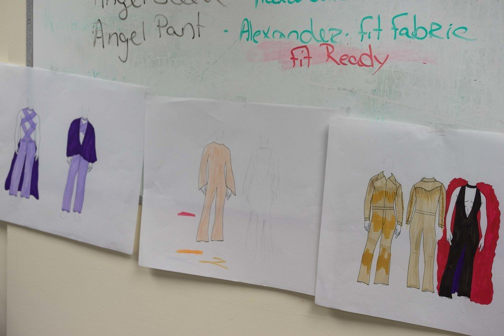 Design sketches for Slaughter's Pridefest costumes.