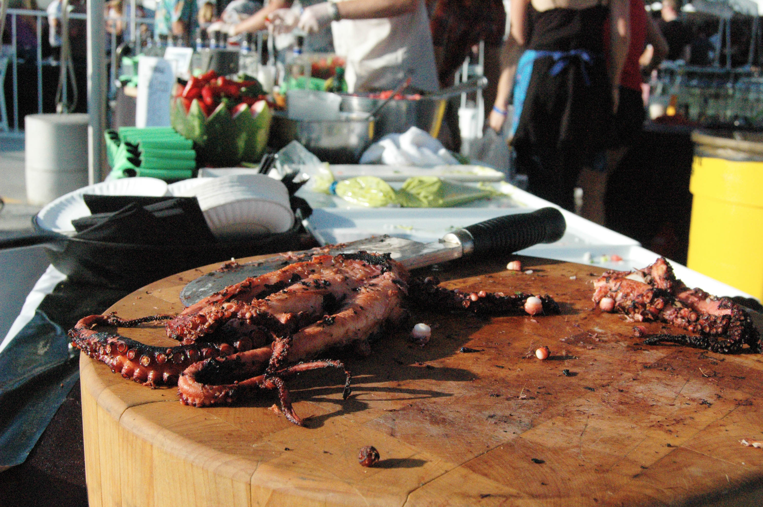 Prepping octopus for tacos.