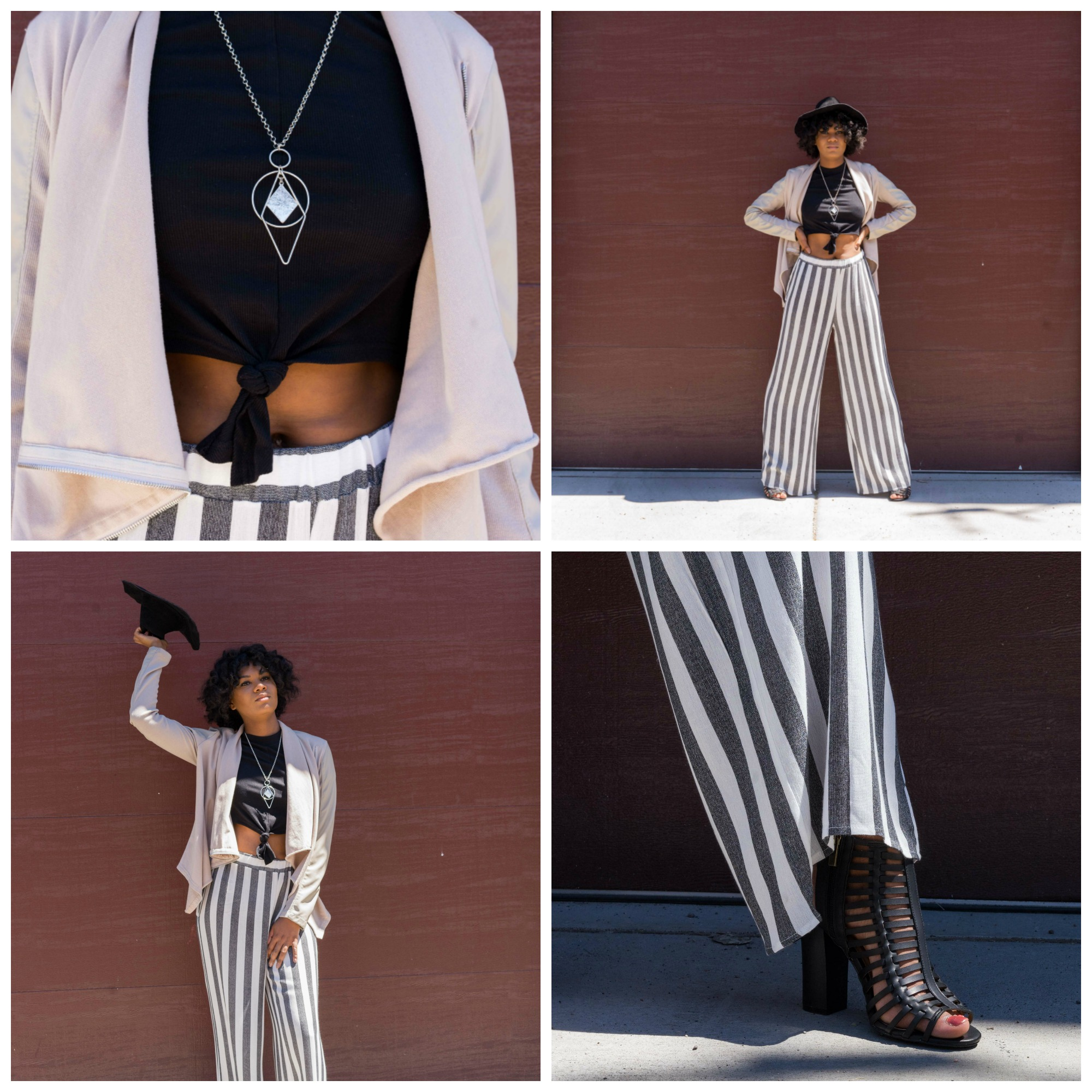 Blank NYC cream jacket $98; black tie crop-top $28; suede floppy hat $46; silver necklace $22; caged, black, stacked heel $42