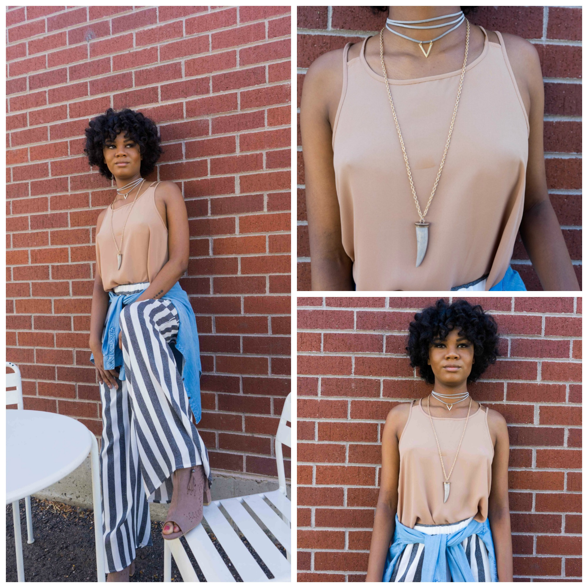 solid tank in taupe $34; chambray button-down $66; grey, layered choker $18; wood pendant necklace $22; taupe, open-toe booties $52
