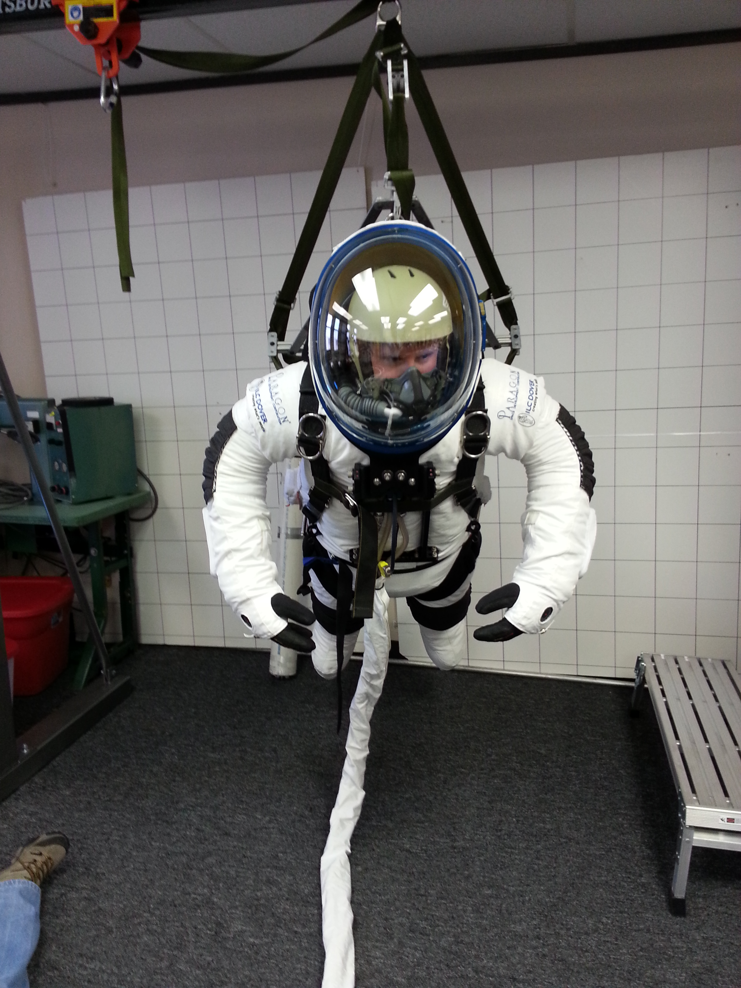Jared Leidich in the StratEx space suit. Photo courtesy of Alan Eustace.