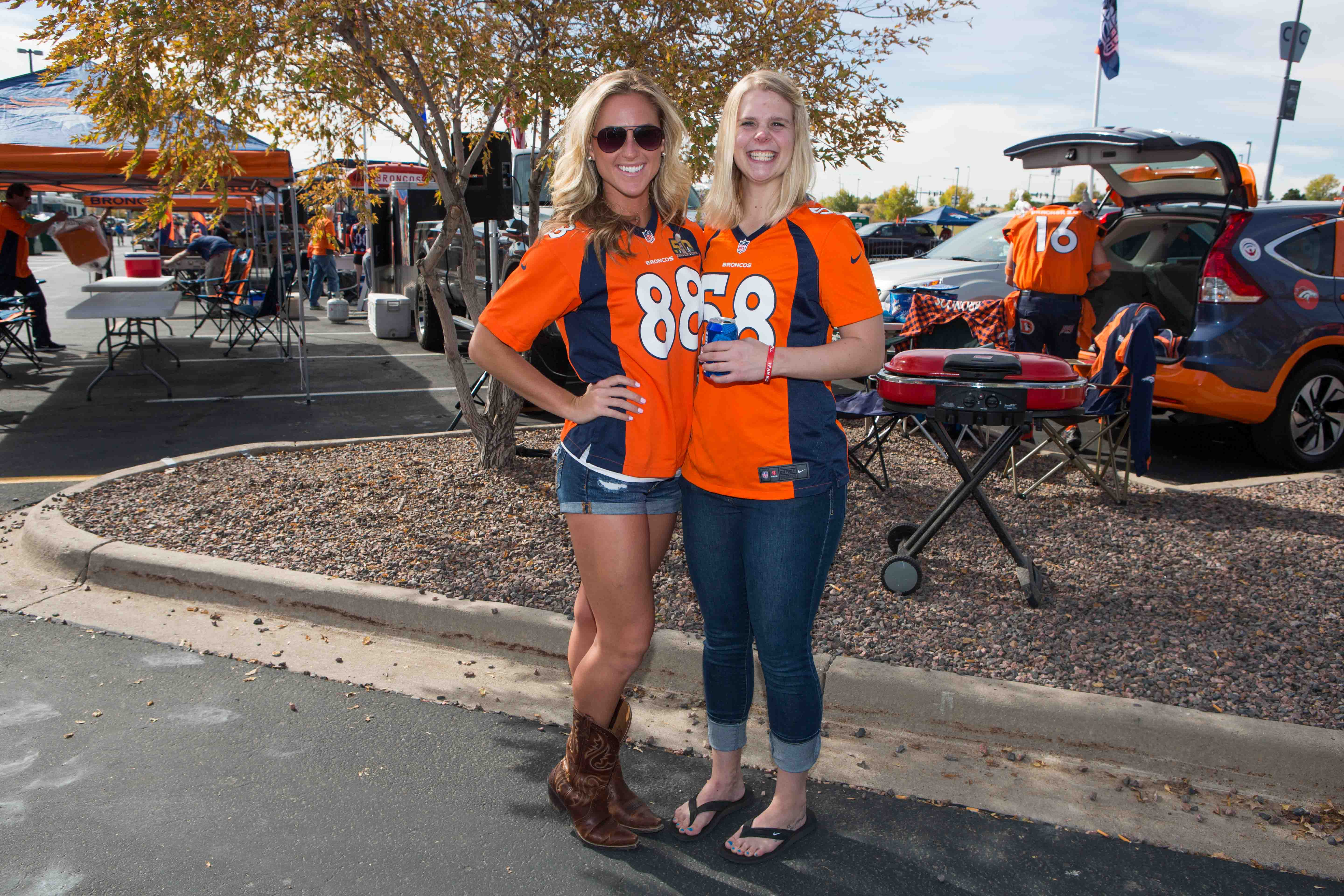 Brittany and Kristina from Denver rock the classic jersey and denim look.