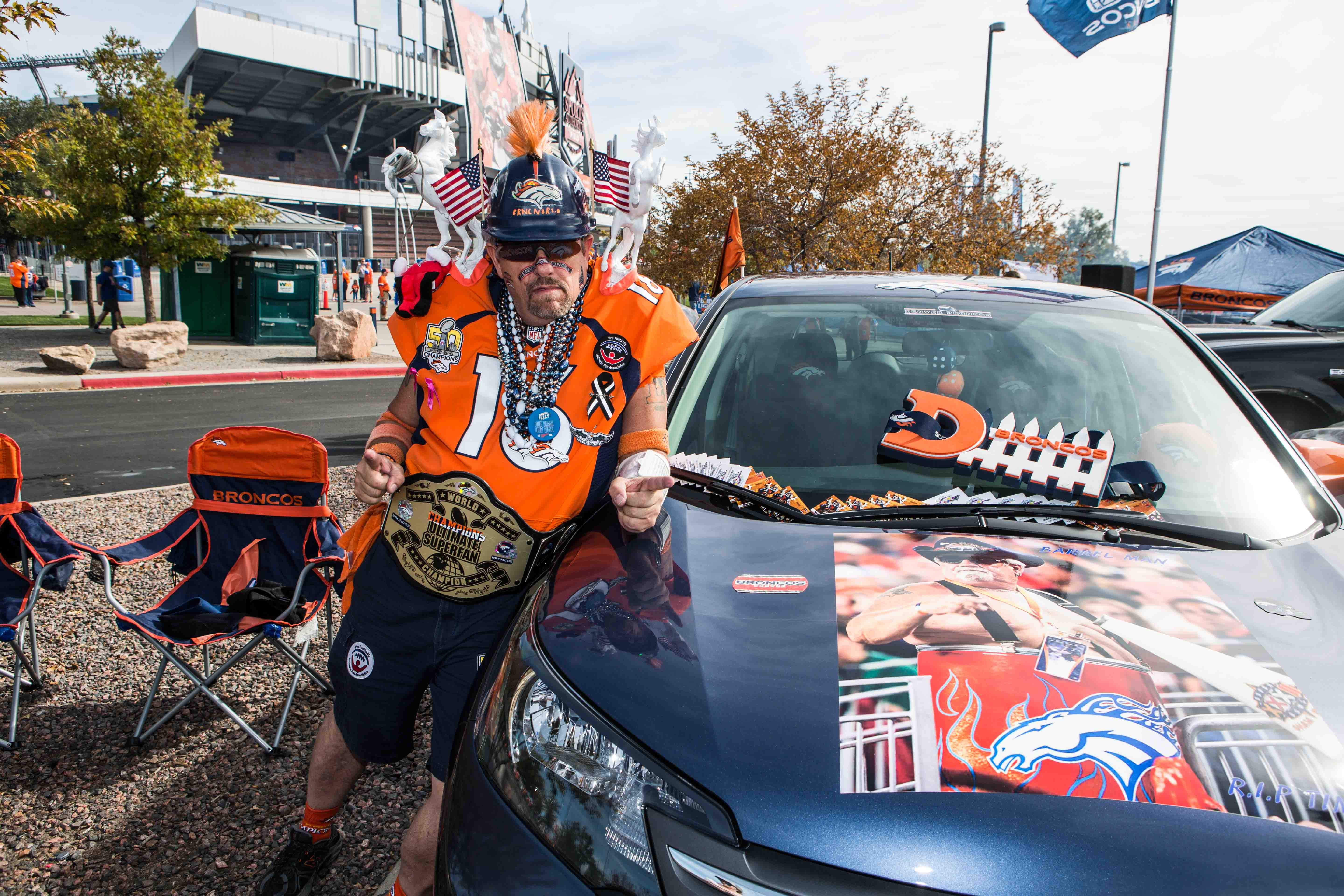 The Bronconator literally bleeds orange...his car does too.