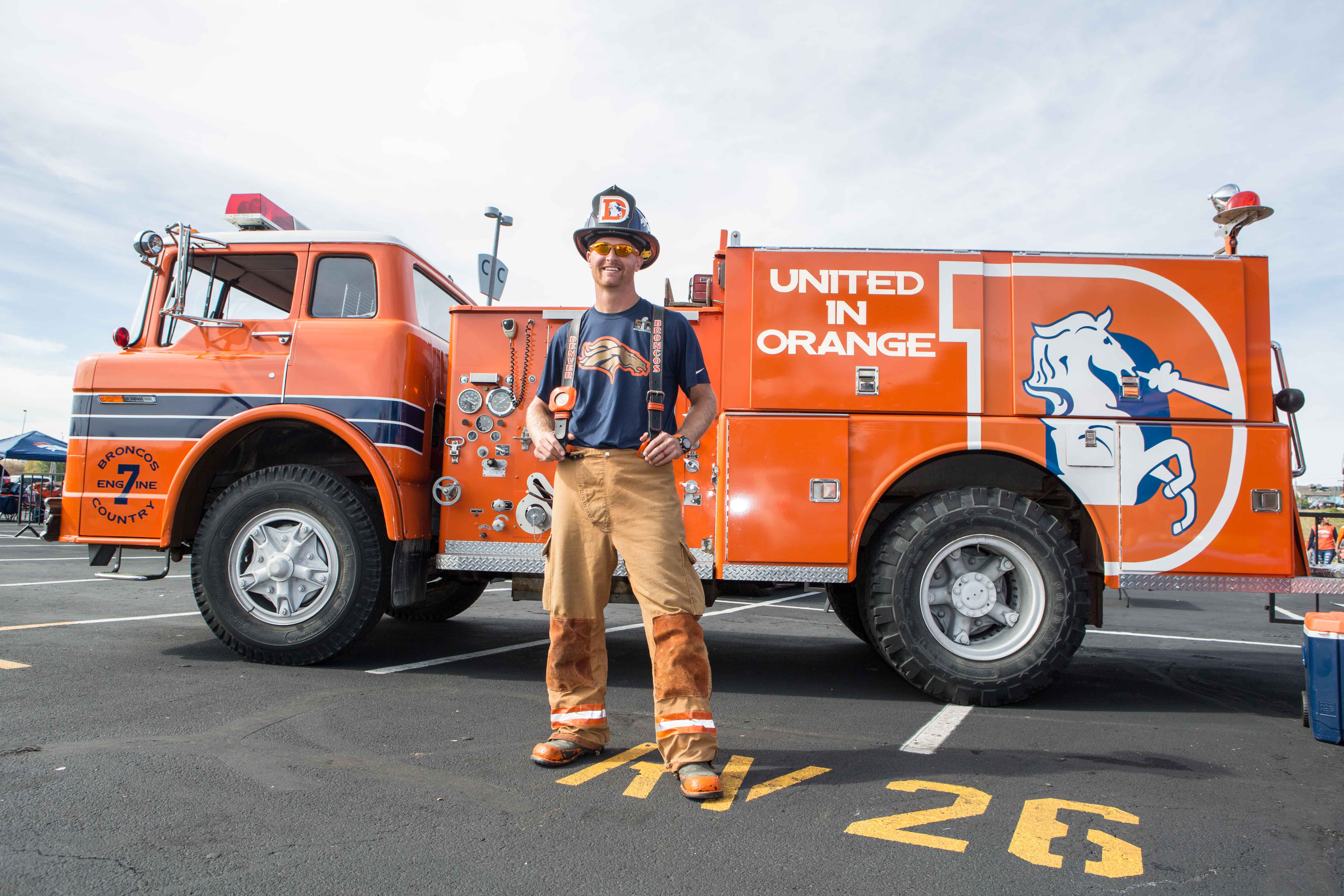 """Rescue Rob"" with Broncos Country Engine 7 is smoking hot (pun intended) at this tailgate."