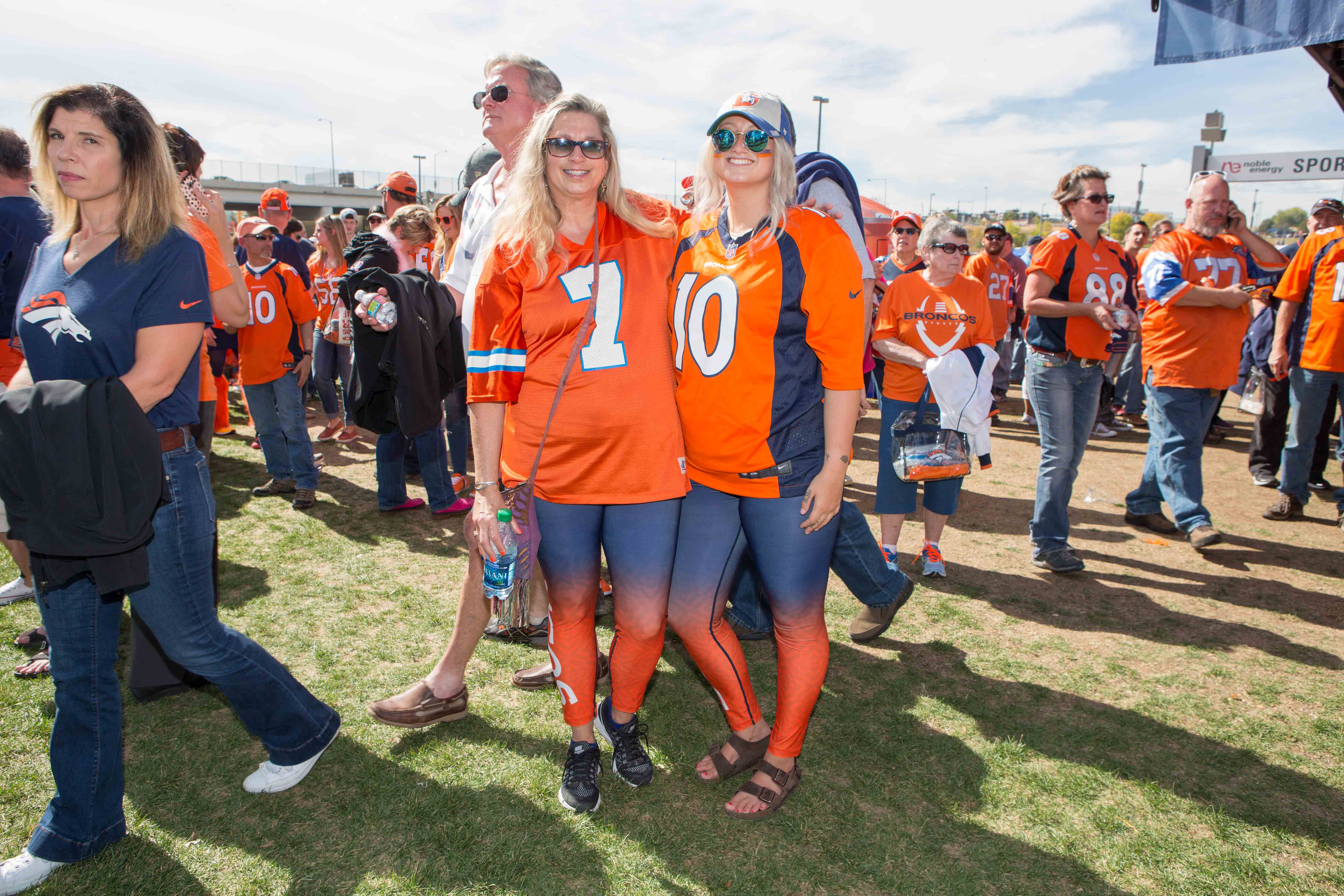These girls were visiting Denver from Boise, Idaho. They found these athletic tights right inside of the Broncos Team Store.