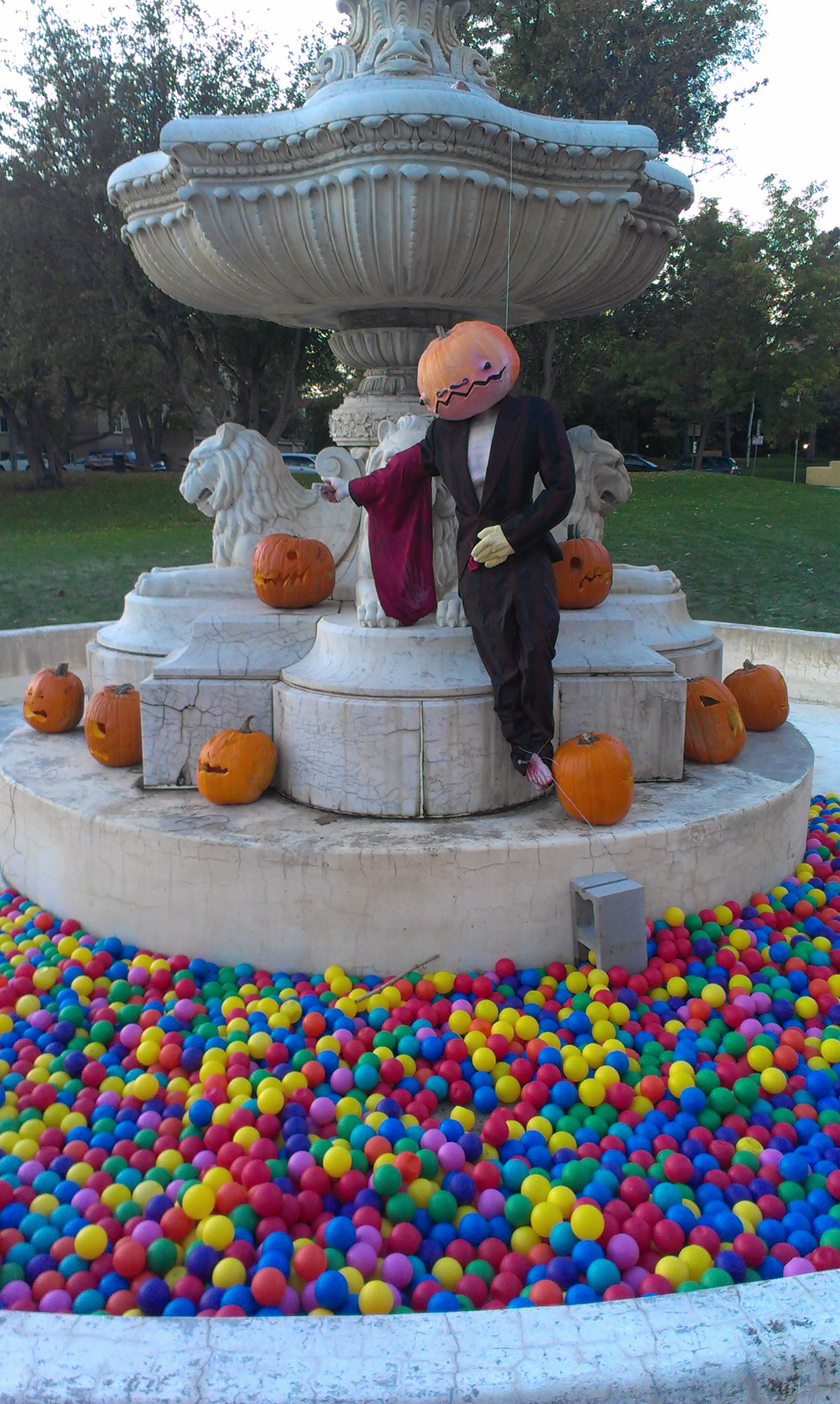 Halloween fountain installation in Hungarian Freedom Park, Denver. Image courtesy of The Impossible Winterbourne.