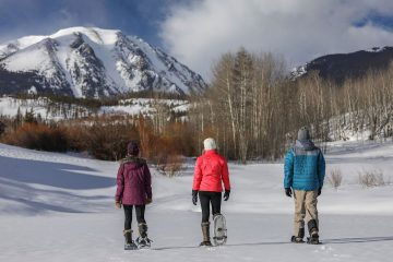 Snowshoers in Silvethorne, Colorado winter